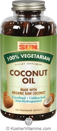 Health From The Sun Coconut Oil 100% Vegetarian Suitable not Certified Kosher 180 Vegeratian Softgels