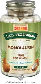 Health From The Sun Monolaurin (from raw coconut) Vegetarian Suitable not Certified Kosher  90 Vegetarian Capsules