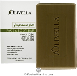 Olivella Kosher 100% Virgin Olive Oil Face and Body Soap Fragrance Free 1 Bar (3.52 OZ)