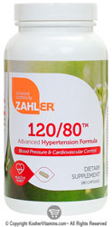 Zahlers Kosher 120/80 Advanced Hypertension Formula  180 Capsules