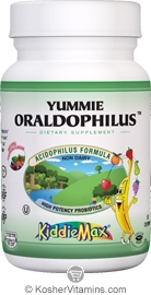 Maxi Health Kosher KiddieMax Childrens Yummie Oraldophilus Acidophilus Formula Chewable Tropical Flavor 50 Chewies