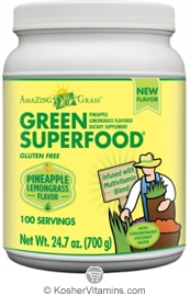 Amazing Grass Kosher Green Superfood Drink Powder Pineapple Lemongrass 24.7 OZ