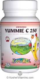Maxi Health Kosher KiddieMax Yummie C 250 (Vitamin C) Chewable Cherry Flavor 180 Chewables