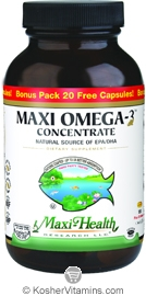 Maxi Health Kosher Maxi Omega-3 Concentrate Fish Oil EPA/DHA 360/240 Bonus Pack 180 MaxiGels