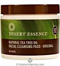 Desert Essence Natural Tea Tree Oil Facial Cleansing Pads - Original 50 Pads