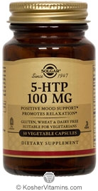 Solgar Kosher 5-HTP 100 Mg. 30 Vegetable  Capsules