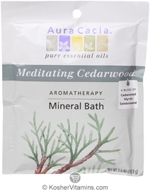 Aura Cacia Aromatherapy Mineral Bath Salt Meditation Cedarwood 6 Packets