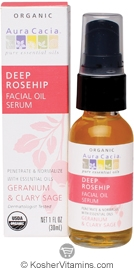 Aura Cacia Organic Facial Oil Serum Deep Rosehip 1 OZ