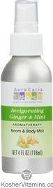 Aura Cacia Aromatherapy Room & Body Mist Invigorating Ginger & Mint 4 OZ