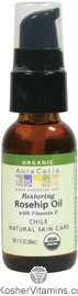 Aura Cacia Organic Restoring Rosehip Oil with Vitamin E Natural Skin Care 1 OZ