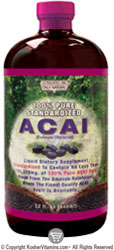 Only Natural Kosher ACAI Liquid 100% Pure Standardized and Organic 32 oz
