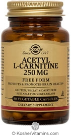 Solgar Kosher Acetyl-L-Carnitine Free Form 250 Mg 30 Vegetable Capsules