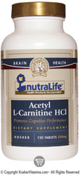 NutraLife Kosher Acetyl-L-Carnitine HCI 500 Mg 120 Tablets