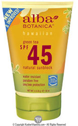 Alba Botanica Green Tea Sunblock SPF 45 4 OZ
