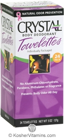 Crystal Body Deodorant Towelettes 24 Packets
