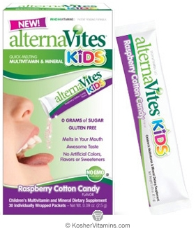 AlternaVites Kosher Kids Quick-Melting MultiVitamin & Mineral Crystals Raspberry Cotton Candy Flavor 30 Packets