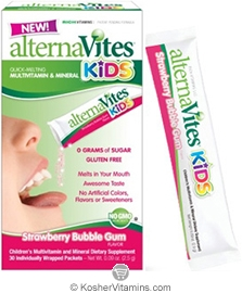 AlternaVites Kosher Kids Quick-Melting MultiVitamin & Mineral Crystals Strawberry Bubble Gum Flavor 30 Packets