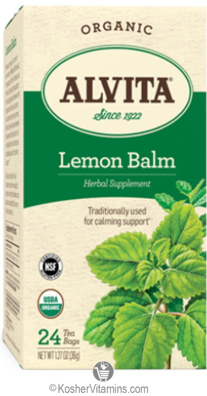 Alvita Kosher Lemon Balm Herbal Tea Organic Caffeine Free 24 Tea Bags