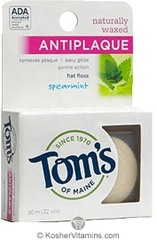 Toms Of Maine Kosher Naturally Waxed Antiplaque Flat Floss
