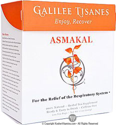 Galilee Tisanes Kosher Asmakal Caffeine Free (Support of the Respiratory System) 100 Tea Bags