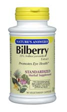 Natures Answer Standardized Bilberry Extract Vegetarian Suitable not Certified Kosher 90 Vegicaps