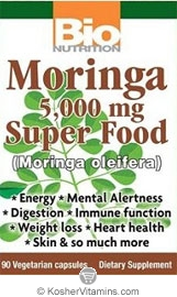 Bio Nutrition Moringa Super Food 5,000 Mg Vegetarian Suitable Not Certified Kosher 90 Vegetarian Capsules