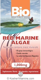 Bio Nutrition Red Marine Algae Vegetarian Suitable Not Certified Kosher    60 Vegetarian Capsules
