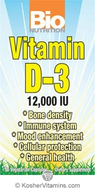 Bio Nutrition Vitamin D3 12,000 IU Vegetarian Suitable Not Certified Kosher               50 Vegetarian Capsules