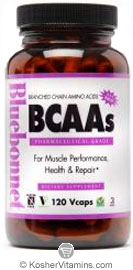 Bluebonnet Kosher BCAAs (Branch Chain Amino Acids) 120 Vegetable Capsules