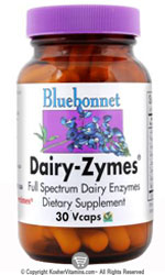 Bluebonnet Kosher Dairy-Zymes 30 Vegetable Capsules