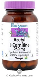 Bluebonnet Kosher Acetyl-L-Carnitine 250 mg 60 Vegetable Capsules