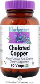 Bluebonnet Kosher Albion Chelated Copper 3 mg 90 Vegetable Capsules