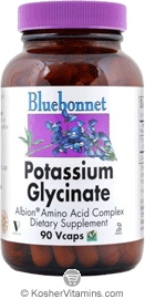 Bluebonnet Kosher Albion Potassium Glycinate 99 mg 90 Vegetable Capsules