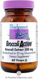 Bluebonnet Kosher BroccoliActive Broccoli Extract 500 Mg 60 Vegetable Capsules