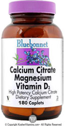 Bluebonnet Kosher Calcium Citrate Magnesium Plus Vitamin D3 180 Caplets