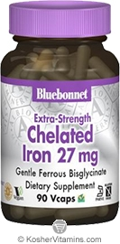 Bluebonnet Kosher Extra Gentle Albion Chelated Iron 27 mg (Gentle Ferrous Bisglycinate) 90 Vegetable Capsules
