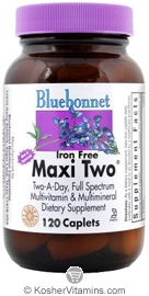Bluebonnet Kosher MaxiTwo Multiple Iron Free 120 Caplets
