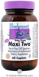 Bluebonnet Kosher MaxiTwo Multiple Iron Free 60 Caplets
