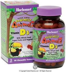 Bluebonnet Kosher Super Earth Rainforest Animalz Vitamin D3 400 IU Chewable Mixed Berry Flavor 90 Chewable Tablets