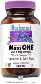 Bluebonnet Kosher MaxiOne Single Daily Multiple Iron Free 30 Caplets