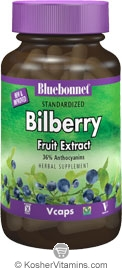 Bluebonnet Standardized Bilberry Fruit Extract 80 Mg Vegetarian Suitable not Certified Kosher 120 Vegetable Capsules