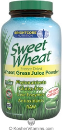 Brightcore Nutrition Sweet Wheat Vegetarian Suitable not Certified Kosher  180 Vegan Capsules