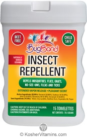 BugBand Kosher Insect Repellent Towelettes Deet Free 12 Pack 15 Towelettes