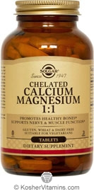 Solgar Kosher Chelated Calcium Magnesium One to One (1:1) 240 Tablets