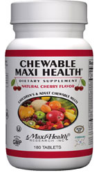 Maxi Health Kosher Chewable Maxi Health Multi Vitamin & Mineral Cherry Flavor 180 Tablets