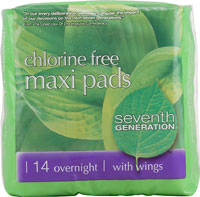 Seventh Generation Chlorine Free Maxi Pads Overnight with Wings 14 Pads