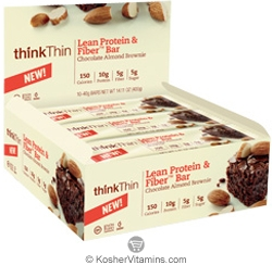 ThinkThin Kosher Lean Protein and Fiber Bar Chocolate Almond Brownie 10 Bars