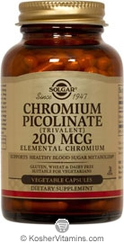 Solgar Kosher Chromium Picolinate 200 Mcg 90 Vegetable Capsules