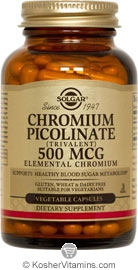 Solgar Kosher Chromium Picolinate 500 Mcg 120 Vegetable Capsules