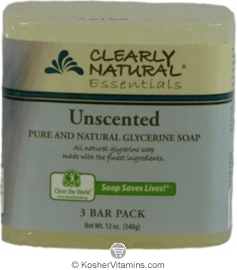 Clearly Natural Glycerine Bar Soap Unscented 3 Pack 4 OZ